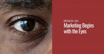 A left eye close up of a black man next to a red block with text that says marketing begins with the eyes