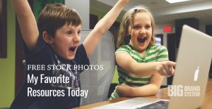 A young girl and boy using a laptop computer sitting on top of a table next to text  Free Stock Photos: My Favorite Resources Today