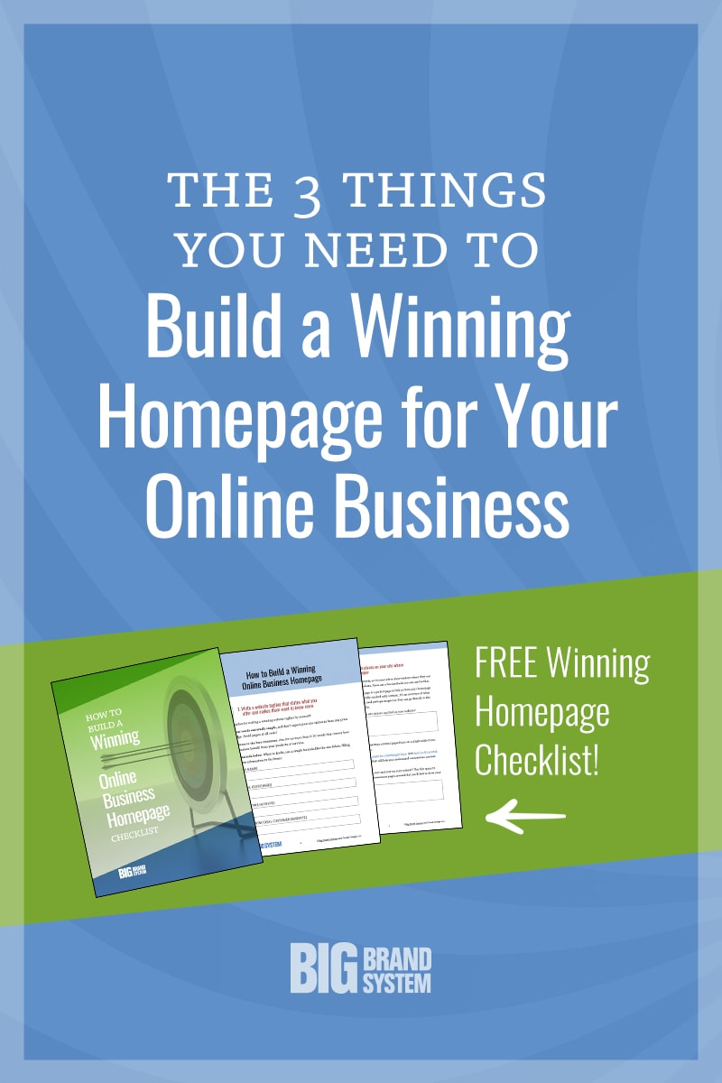 Discover the three BIG jobs your homepage must do to attract and convert site visitors. Download the FREE checklist to guide you as you put together your page! #onlinebusiness #onlinemarketing #webdesign