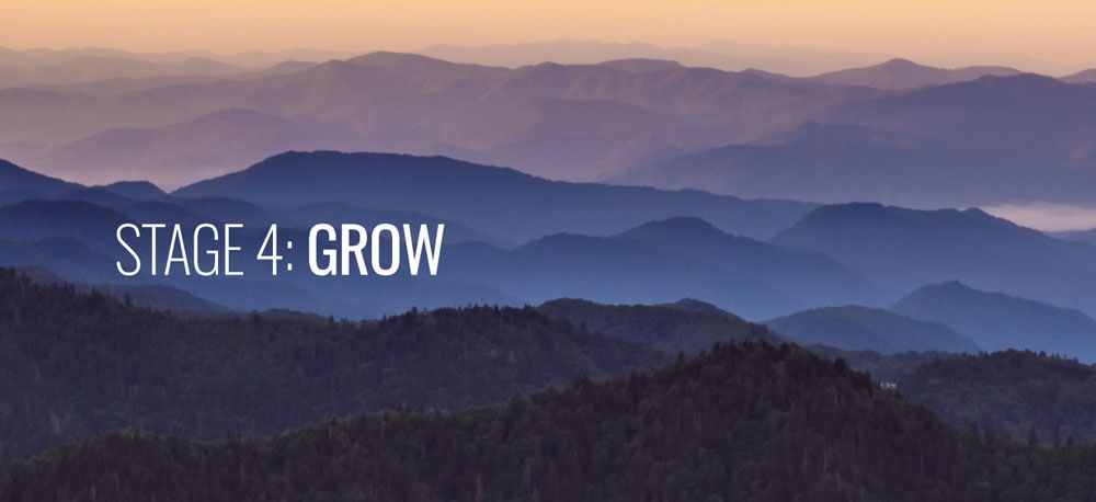 A large mountain in the background with the word GROW