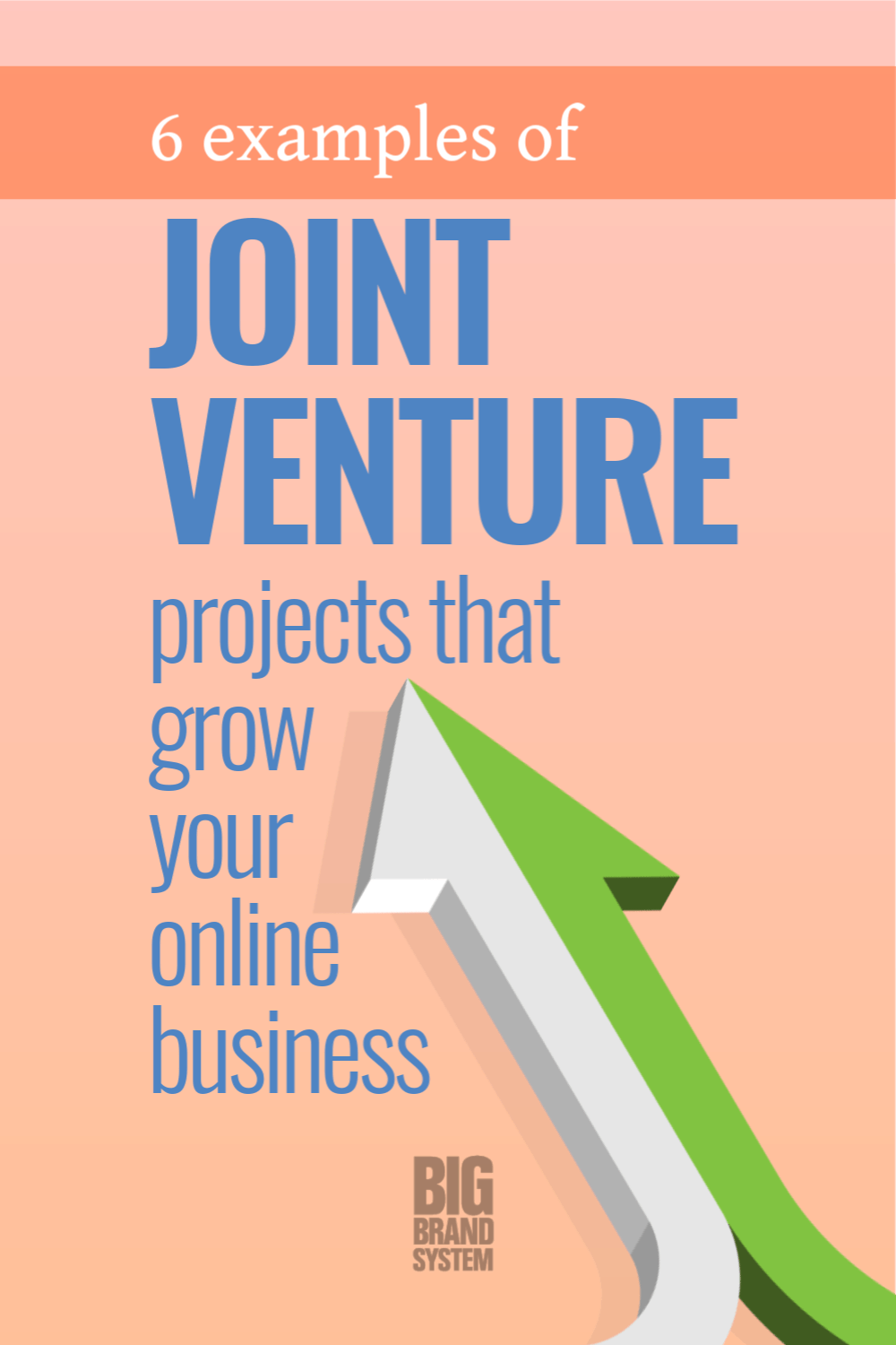 """""""I want to do a joint venture for my product."""" Great! Here are 6 joint venture examples to get you started. These online joint venture ideas will help you pick the best joint venture partners and find a fit between your audience and theirs. Click through to grab 6 joint venture ideas — they range from simple and easy to complex and long term. #bigbrand #onlinebusiness"""