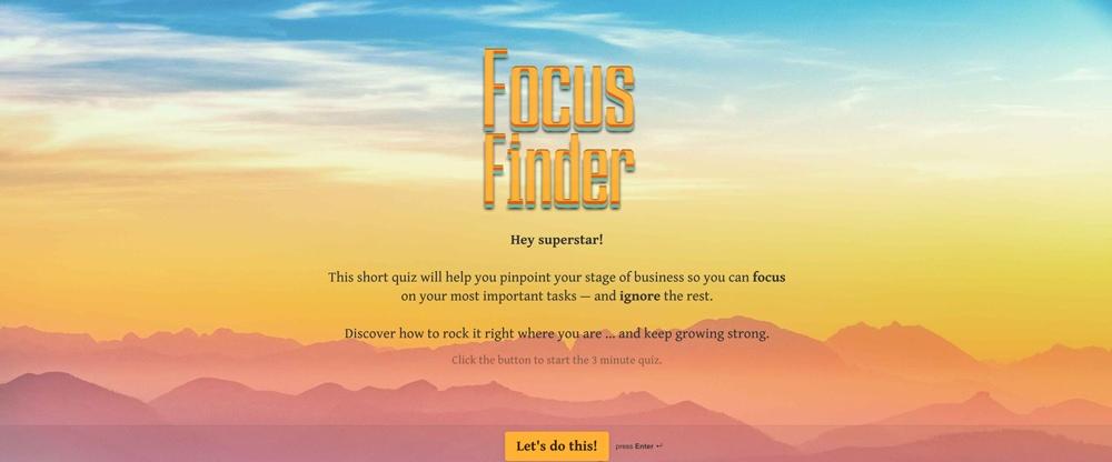 Focus Finder Quiz first page