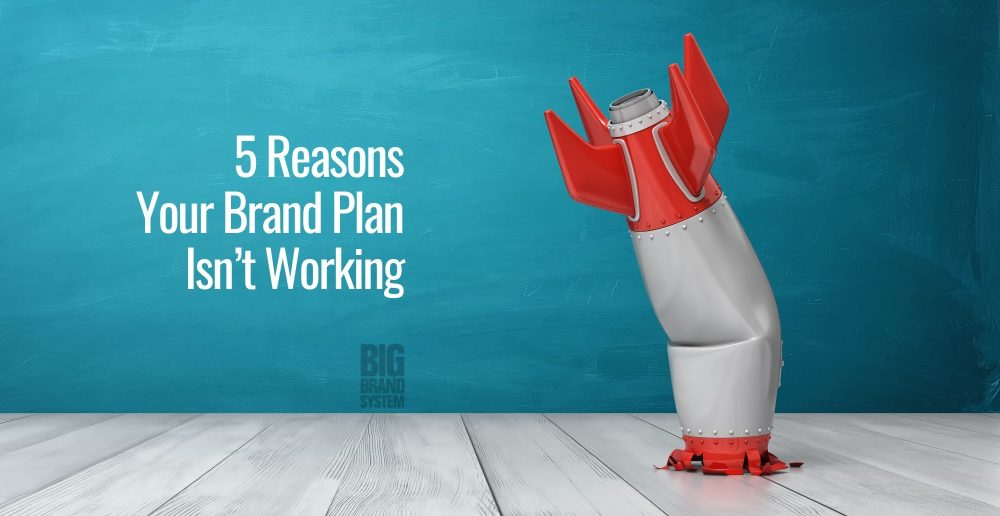 A red and white toy rocket that crashed on a white wooden floor and a text beside it that says 5 reasons your brand plan isn't working