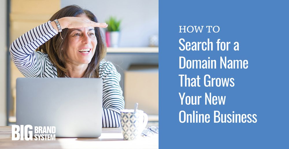 Woman searching for a domain name for her online business.